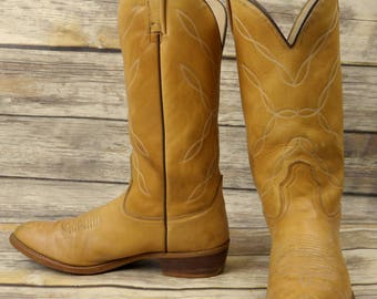 Mens 10 B Cowboy Boots Acme Narrow Light Tan Vintage Country Western Rockabilly