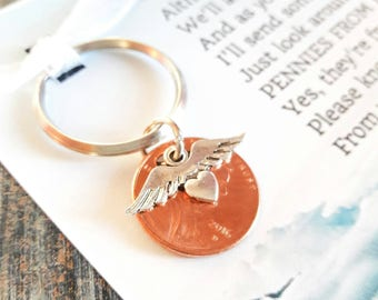 Pennies From Heaven Keychain  - Original Poem - With Penny & Heart With Wings Charm