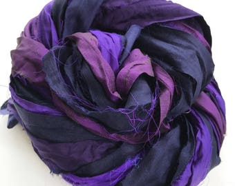Sari Silk Ribbon, Reclaimed, Recycled, Fair Trade, Skein no. 326, 46 yds.