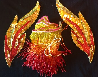 Flame Costume DIY Glass Beaded 5 inch Fringe and Flame Appliques, Belly Dance, Fire, Cosplay, Costume