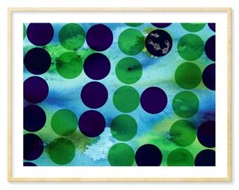 Modern Graphic Print, Aquatic, Modern Look, Abstract Watercolor Print, Modern Graphic Art, Abstract Graphic Print, Navy and Green, 8.5x11