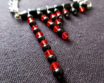 Math Jewelry - Red Black Swarovski Fibonacci Sciart Mathart Necklace - Nerd Geek Teacher Gift