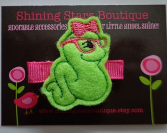 Felt Hair Clips - Girls Hair Accessories - Lime Green And Dark Pink Back To School Book Worm Embroidered Felt Hair Clippie