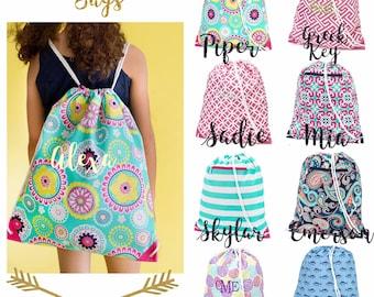 Girls gym bag  , kids drawstring  bag  , monogrammed cinch bag , personalized gym  bag , kids travel bag , kids camp bag