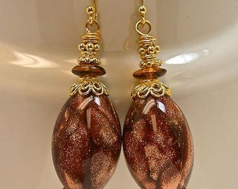 RESERVE MARIANNE Vintage Venetian Aventurina Cinnamon Brown Glass Bead Copper Flecks Dangle Earrings, Bali 24k Gold Vermeil Beads,Ear wires