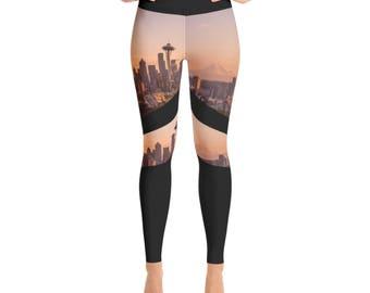 Seattle Space Needle and Mount Rainier Yoga Workout Leggings