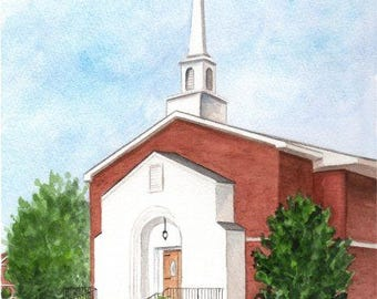 ORIGINAL WATERCOLOR PAINTING, First Methodist Church, Pocahontas Arkansas,  8x10 by Suzanne Churchill