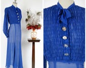 Vintage 1930s Dress - Glorious Bright Blue Sheer Chiffon Evening Gown with Draped Balloon Sleeves and Ruched Bodice