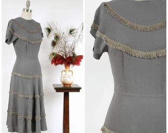 Vintage 1940s Dress - Autumn 2017 Lookbook - The Erstwhile Dress - Gorgeous Pewter Grey Fringed 40s Day Dress in Rayon Crepe