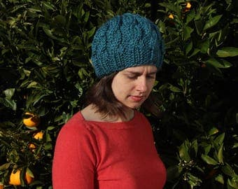 Hand knit cable beanie with wool blend yarn