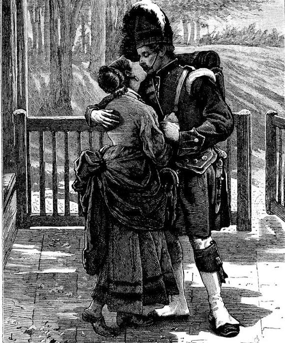 """Scottish war soldier couple lovers printable wall art png jpg clip art digital download graphics romance image black and white  12"""" x 14.6"""""""