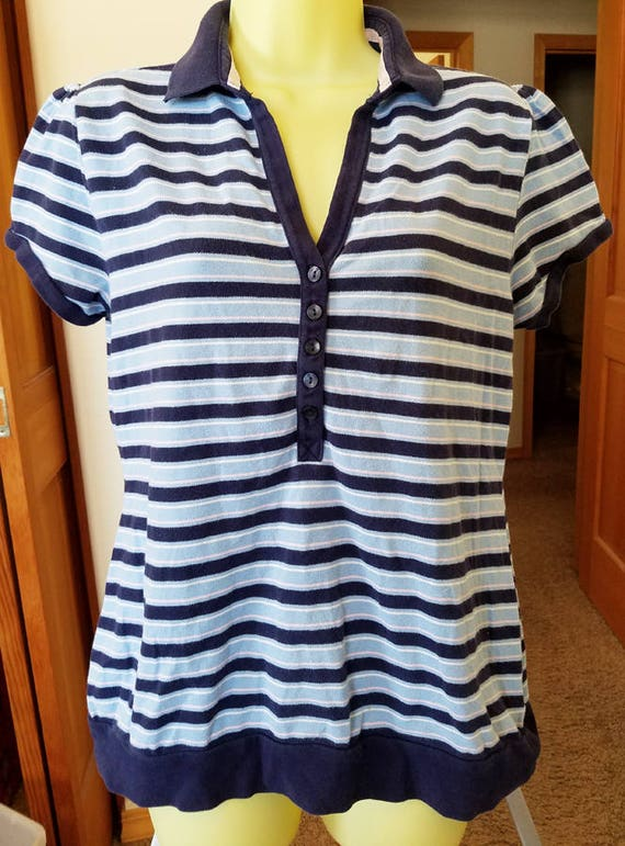 blue striped top blouse womens sz Large shirt V neck collar short sleeves buttons polo golf clothing