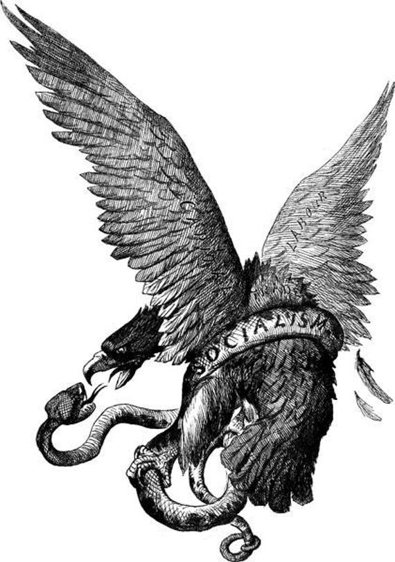 """eagle snake bird png clipart socialism political art propaganda digital stamp Digital Download printable vintage illustration 7"""" x 10"""""""