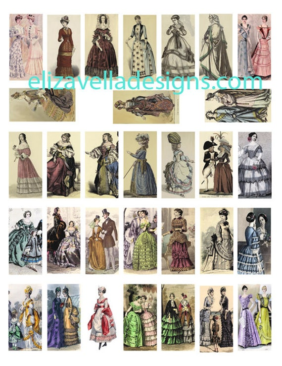 Victorian edwardian Women clip art domino collage sheet 1 BY 2 inch digital download image graphics gowns dresses 1500s t0 1800s fashion