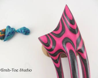 Wood Hair Fork, Hair Fork, Hairforks, Grahtoe Studio,Spectraply ,Dragon Claw Tusk, Wood Hair forks,Man Bun, Hair Pick,Pink Black Fork