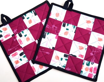 Pink Quilted Patchwork Pot Holders Set of Two in Modern Fabrics