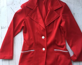 VintageJC Pennys 1960s Bright Red FItted Blazer Jacket