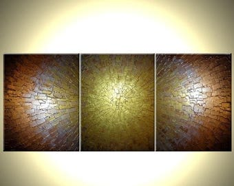 Original Abstract Gold Painting, Palette Knife Art, ORIGINAL Bronze Metallic, Textured Impasto Lafferty - 24X54, Save 22% Off