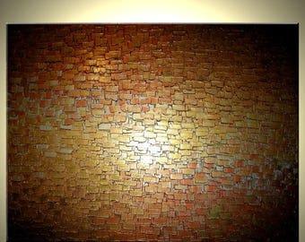 Original Thick Textured Painting By Dan Lafferty - Gold Metallic Abstract Bronze Modern IMPASTO Art, 36x48, 22% Off