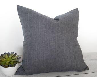 English Wool Pillow, Menswear Pillow, Grey Blue Pillow, Mens Pinstripe Pillow, Pure Wool Pillows, Masculine Home Decor, 20x20, NEW