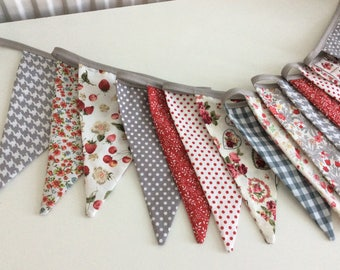 Grey and red Bunting - grey red floral bunting 14 flags, party fabric garland in florals