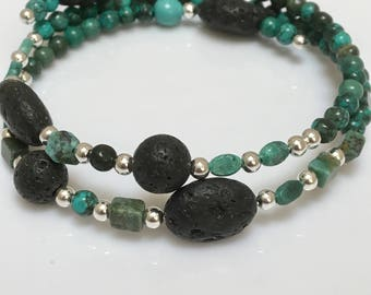 Turquoise Teal and Silver Lava Stone Bracelet, Perfect for Essential Oils, Memory Wire Bracelets with Earthy Bead Mix, Theraputic Oils