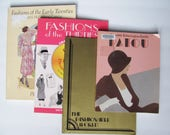 SALE 4 1920s & 1930s Fashion Books on: Patou French Designer, Hollywood Photos, Fashion Catalogs, Clip Book with CD Romof 20s and 30s
