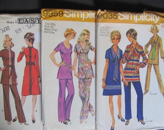 43 bust 3 Patterns McCalls 3054, Simplicity 9959 and 9035, Vintage 1970s / A line Dress, Shift Dress, Pants, Tunic Top, 70s retro large size