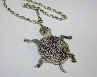 Turtle Statement Necklace, Bold Jewelry, Long Necklace, Articulated, 1970's Costume Jewelry