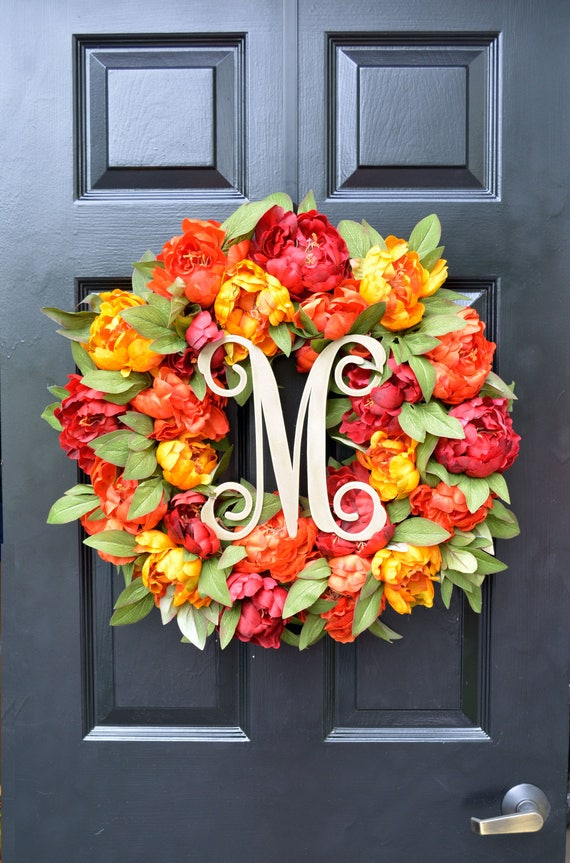 Fall Colors Peony Wreath, Fall Wreath, Monogram Wreath for Front Door, Autumn Fall Decor, Fall Colors, Designer Wreath, Fall Wedding Wreath