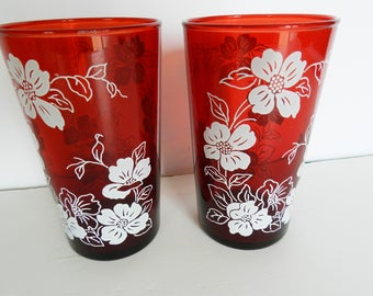 Anchor Hocking Ruby Glasses, Ruby Dogwood Beverage Glasses, 1950 Red Glasses, Ruby Tumblers