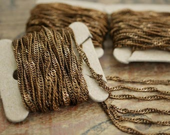 Antiqued Brass over Steel Twisted Flat Cable Chain 1mm Thick Bulk Chain Spool Chain (10 Feet)