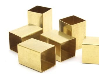 Brass Tube Beads, 12 Huge Raw Brass Square Tubes (14x20mm) Bs 1521