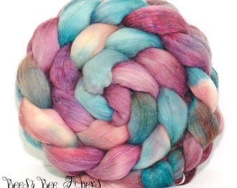 JAZZY PLUM - Sparkly Violet Angelina, Tussah Silk and Merino Roving Hand Dyed Wool, Combed Top Roving 4.3 oz