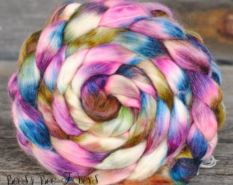 CRYPTIC - Hand Dyed Merino, Wool Roving, Soy Silk, Mohair, Nylon Wool Spinning Roving Combed Top Luxury Fiber for Spinning Felting