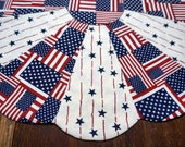 """21"""" 4th of July Table Topper Reverses to Halloween Ghosts"""