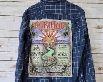 Mens Grateful Dead Further Festival 1997 Bob Weir Ratdog Moe Button Up Shirt Top Size Medium