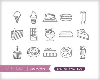 Minimal sweets line icons   EPS AI PNG   Desserts Clipart Design Elements Digital Download