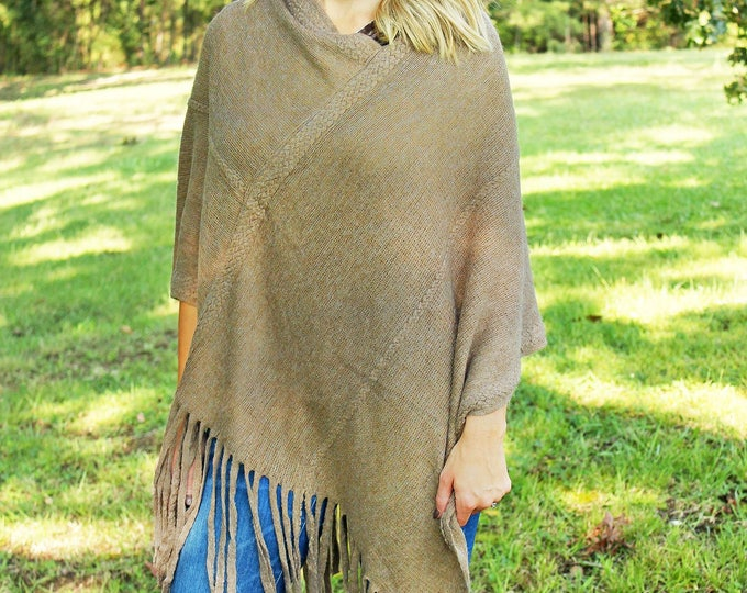 fringed poncho warm taupe trendy outerwear Valentines gift for her bestseller warm onesize scarf wrap sweater Beach House Dreams Outer Banks