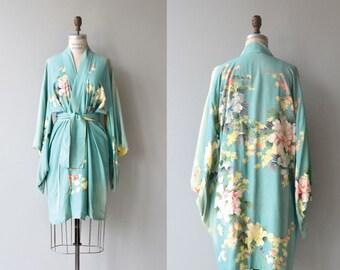 Daybreak wrapper | vintage 1930s kimono robe  | floral silk 30s robe