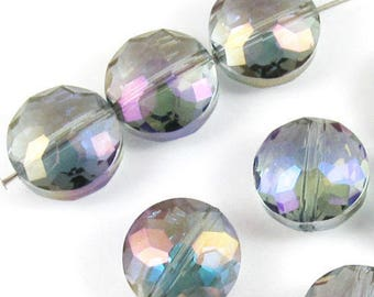 Faceted Glass Coin Beads-BLUE & PURPLE 14mm (10 Pieces)