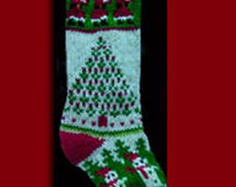 Hand knit Christmas stocking,  Personalized, made of pure wool yarn,  fully lined -- snowflake, Christmas tree and Santa