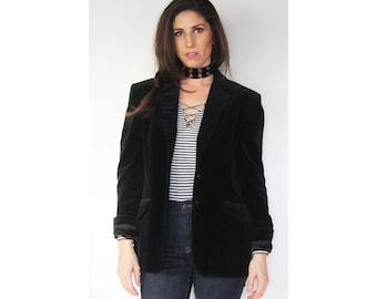 Black Velvet Minimalist Blazer / RARE / Vintage / Circle S / Kenny Rogers / Unisex / Outerwear / Retro / Jacket