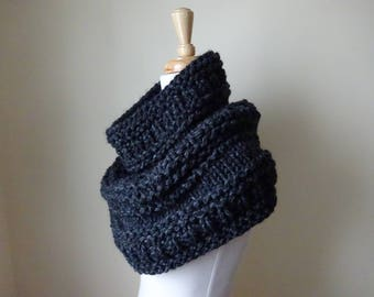 Knit Cowl, Chunky  Cowl, Infinity Scarf, Circle Scarf, Neck Warmer, Snood, Textured Cowl in Charcoal - Ready to Ship Gift for Her