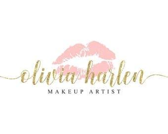 Makeup Logo Makeup Artist Logo Lipstick Logo Lipsense Logo Senegence Logo Blush Pink Logo Gold Glitter Logo Beauty Logo Beauty Blog Logo