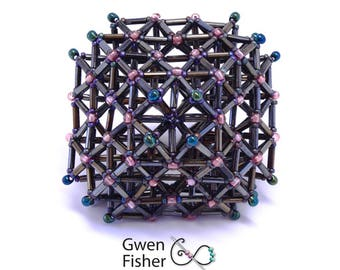 OctahedraI Space Grid Structure -- Beaded Art Object Sculpture