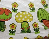 Vintage Tablecloth, Mushrooms and Flowers, 1970s Oval Tablecloth, Groovy Seventies Table Covering, Orange Green Yellow, Picnic Tablecloth
