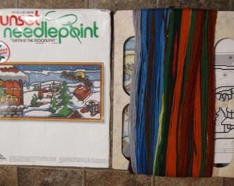 Sunset Needlepoint Kit - Santa in the Moonlight - by Donna Enstaff