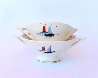 Atomic Art Deco Cream & Sugar Set, Salem Streamline Shape, Nautical Sailing Ships Pattern in Grade C Condition