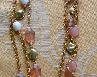 "Pink, Cream, Gold tone Beaded Multi-strand Necklace, 22""-24"" , Vintage, ""Avenue"" (AB17)"